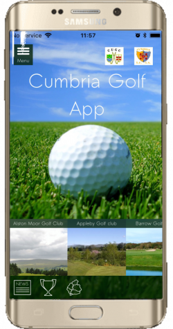Cumbria Golf App running on a mobile phone